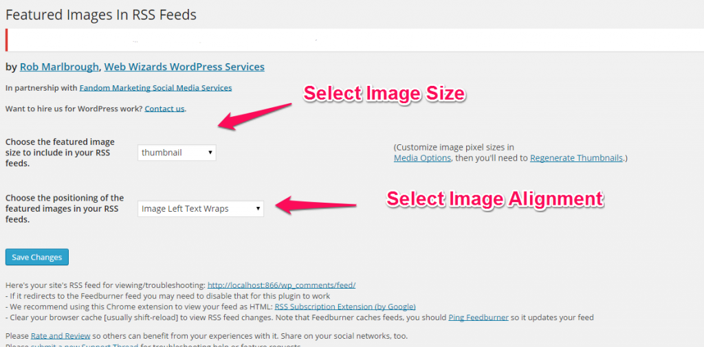 Featured Image in RSS - Settings Screen with Annotations