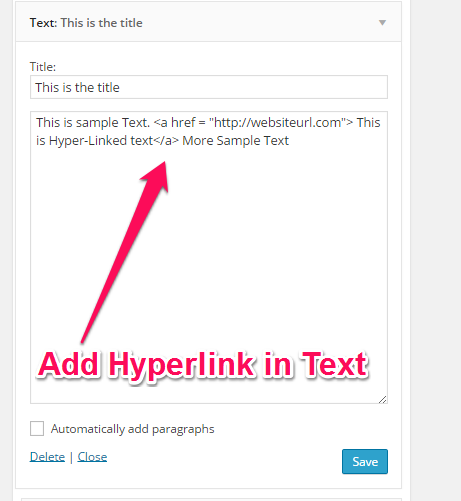 Add Hyper Link inside Text