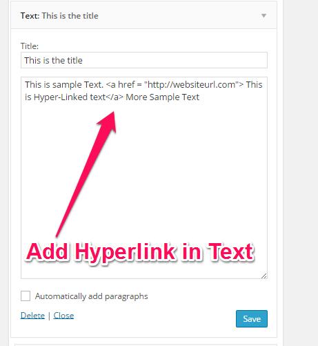 Add Hyper Link inside Text