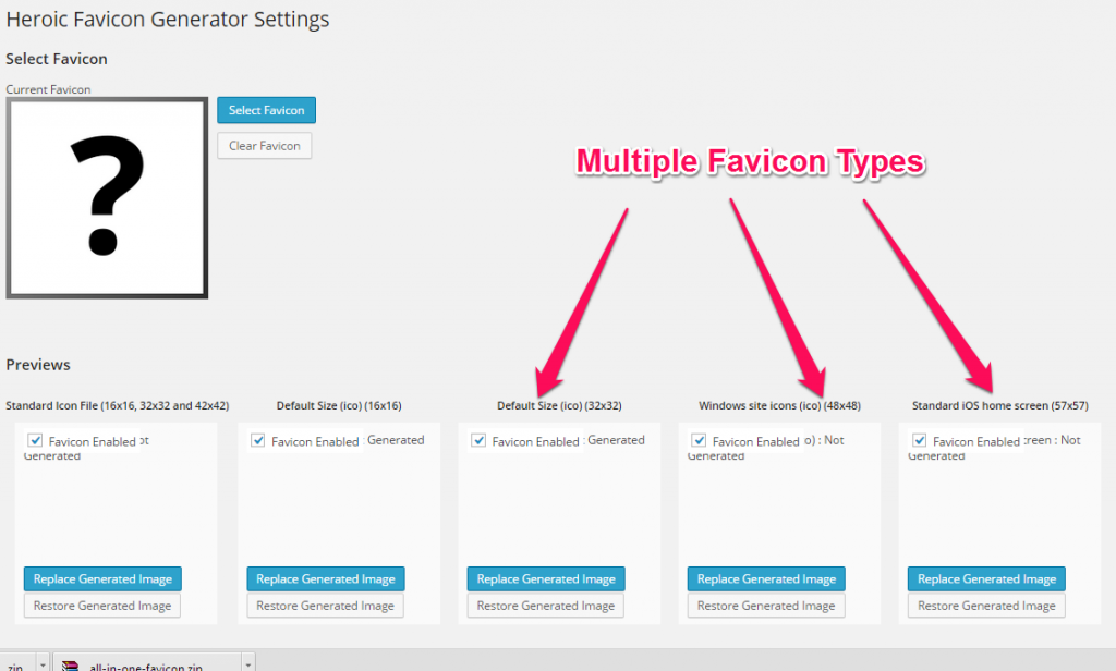 Heroic Favicon Generator Settings
