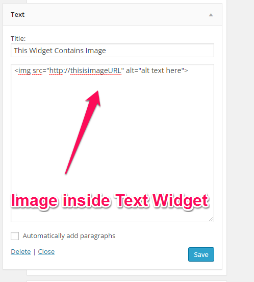 Image inside Text Widget