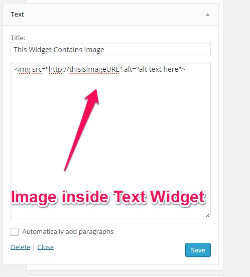 Image inside Text Widget