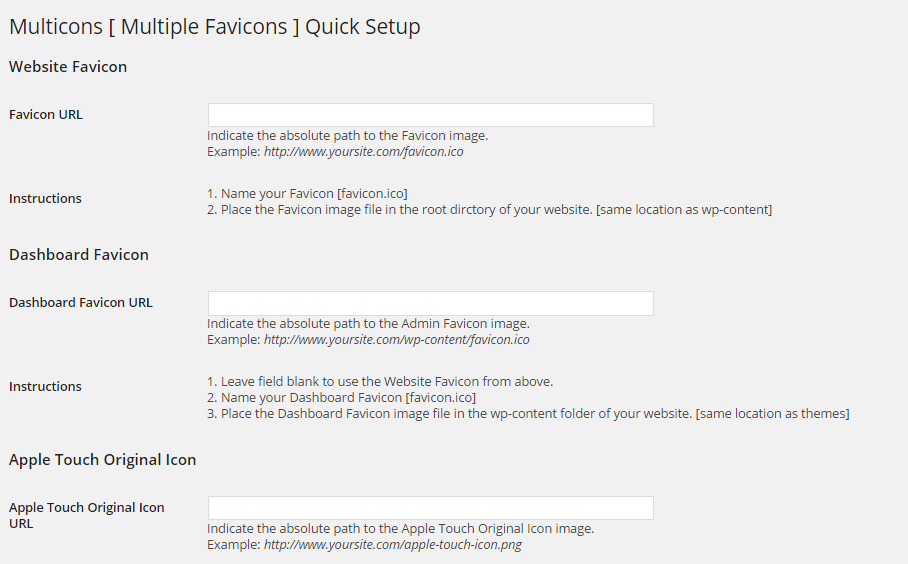 MultiCons Settings Page
