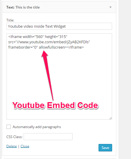 Youtube Video inside Text Widget