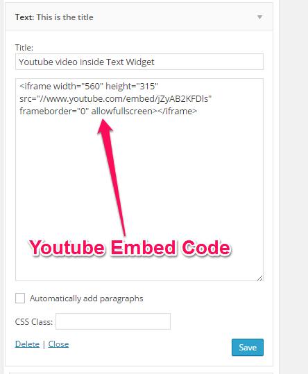 Youtube Video inside Text Widget