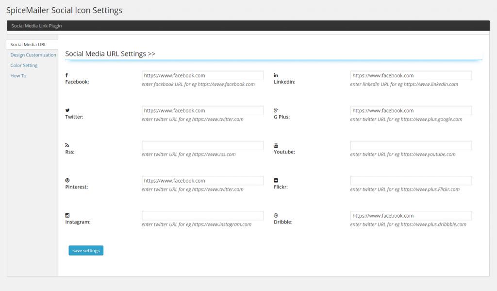ScreenShot Settings Page SpiecMailer Social Icons Widget