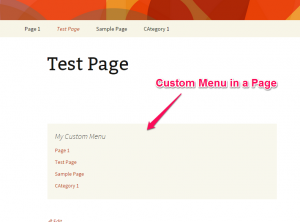 Custom Navigation Menu in a Page