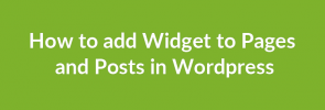 How to add Widget to Pages and Posts in Wordpress_image