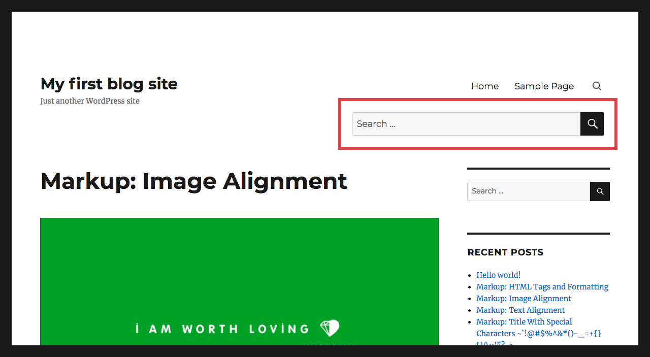 WordPress Search Icon Toggle Effect